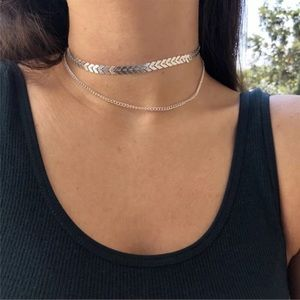 SILVER Multilayer Chevron Style Chocker Necklace